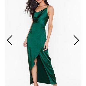 Green side slit silk dress